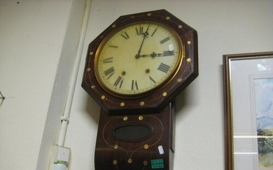 Victorian 8 Day Wall Clock Inlaid with Mother of Pearl