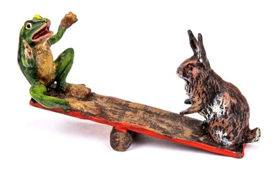 Vienna Cold Painted Bronze Rabbit & Frog on Seesaw