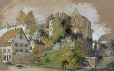 """Watercolourist (19th/20th century), """"Meersburg"""", view of the old castle, fine watercolour on paper"""
