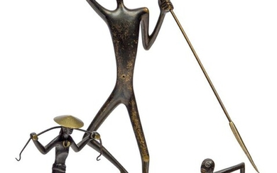 Werkstätte Hagenauer Wien (Austrian), a small bronze of an African warrior, Mid-20th Century, stamped Hagenauer Wien, with maker's wHw roundel, Handmade, Made in Austria, Modelled and cast as a man with a spear and shield, circular base, 8.5 cm...